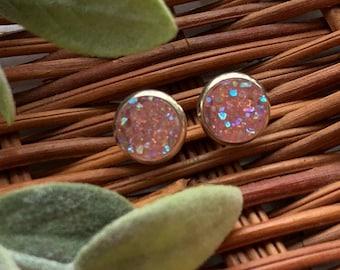 Druzy Earrings-Druzy Crystal Post Earrings-Post Earrings-Light Pink-10mm