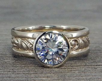 Moissanite Engagement Ring - Forever One- Recycled 14k White Gold, Bezel Set, Scroll Patterned, Wide Band, Ethical, Made to Order