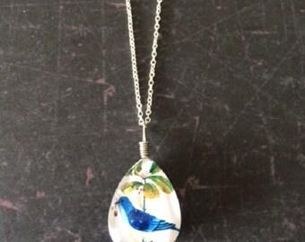 Bird Necklace - Bird Necklace Silver - Bird Jewelry - Bird Jewlery - Bird Pendant - Blue Bird Jewelry - Blue Bird Necklace - Glass Necklace