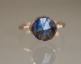 Labradorite Ring Silver - Solitaire Ring - Stone Ring - Stacking Ring - Sterling Silver Ring - Round Stone Ring