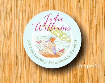 Beach return address label/beach stickers/beach/margarita on the beach/printable labels
