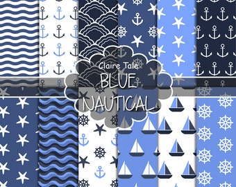 """Nautical digital paper: """"BLUE NAUTICAL"""" patterns with anchors, wheels, starfish, boats, waves, stripes in blue"""