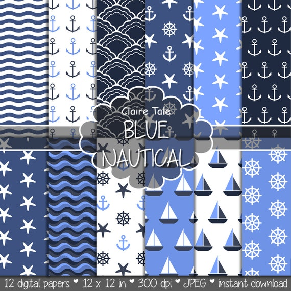 "Nautical digital paper: ""BLUE NAUTICAL"" patterns with anchors, wheels, starfish, boats, waves, stripes in blue"