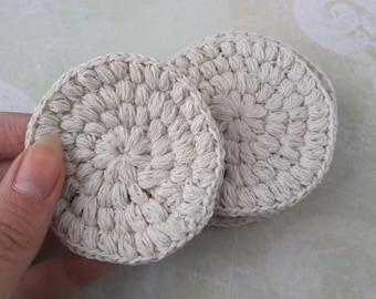 Organic Linen and Cotton Crochet Face Scrubbies set of 4 Eco Chic friendly Reusable Face-Cloths Washable cotton rounds Reusable make up pads