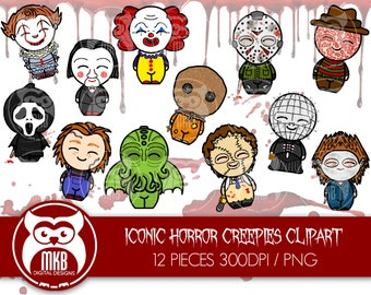 Premium Clipart - Iconic Movie Slashers and Montster Clipart - Cute Iconic Monster Clipart - High Quality PNG Clipart- 300DPI Clipart