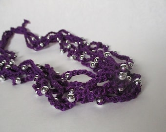 Purple Crochet Jewelry with Beads, Purple and Silver Crochet Necklace