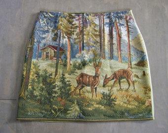 Tapestry skirt, cotton gobelin skirt, straight skirt, landscape skirt, two deer, green brown, size Small