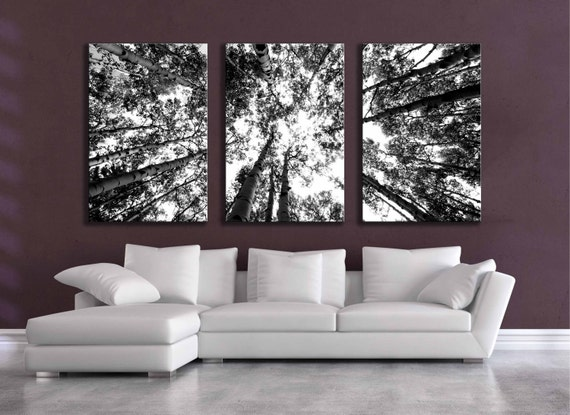 Large Black And White Three Canvas Wall Grouping 80 Inch Aspen
