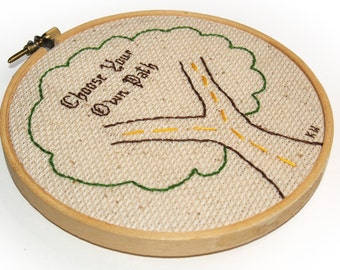 Bohemian Tree Embroidery -  Framed in 5-inch Wooden Hoop,  Boho Style, Boho, OOAK (Choose Your Own Path) Handmade, Primitive, Ready to Ship