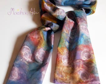 Silk scarf Pink Roses, Hand painted silk scarf, Mothers day gift, Unique gift for woman, Floral scarves, Pink, purple, blue, green, gold