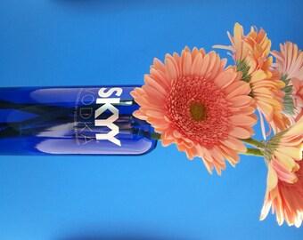 Blue Glass Vase / Skyy Vodka Vase / Bottle Decor / Hand Cut Glass Bottle / Upcycled Liquor Bottle / Flower Vase / Dorm Room / Alcohol Bottle