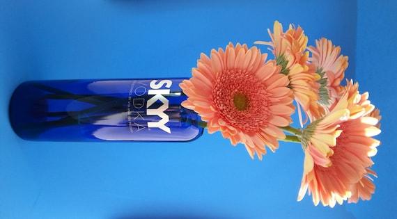 Blue Glass Vase Skyy Vodka Vase Bottle Decor Hand Cut