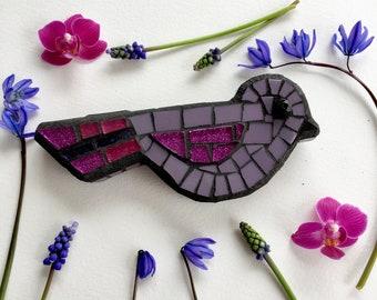 mosaic bird lavender and pink