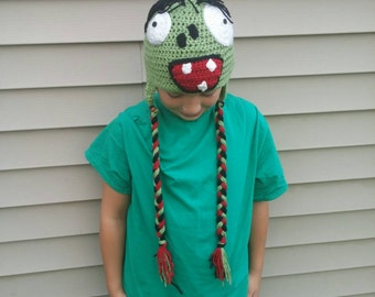 Plants Vs. Zombies Crochet hat! Zombie hat for Halloween or winter!