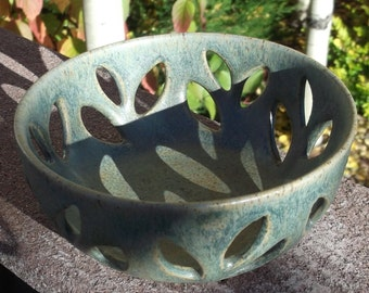 Hand Made and Carved Bowl with Leaves - Pottery Dish