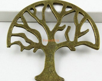 10Pcs Antique Brass Tree Charm Tree Pendant 47x47mm (PND577)