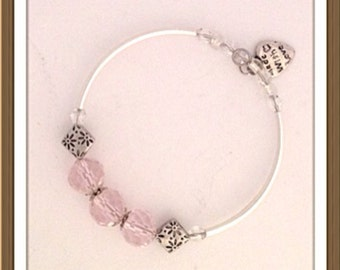 Bracelet by MWL pink faceted beads and silver findings bracelet. Handmade 0220