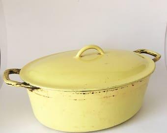 Vintage 1960's Descoware Belgium Yellow Cast Iron Large Oval Dutch Oven. Made in Belgium.