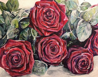 """Red Roses Acrylic Painting / Original Artwork. """"Red Roses"""" on Canvas 12 x 10"""""""