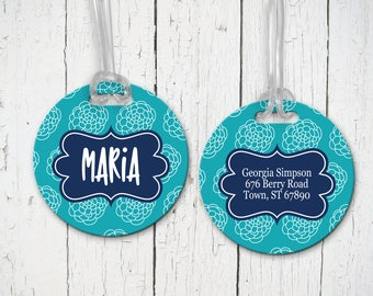 Set of 2 Country Flower Design Personalized Round Luggage Tags (2 Sided) - Monogram Bag Tags, Address, Luggage Tag