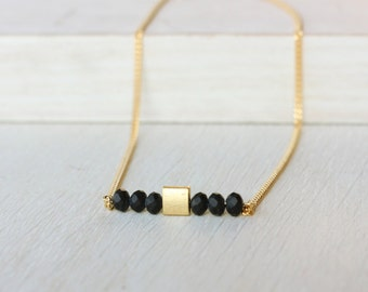 minimalist necklace, gold and black pendant, gift for her, delicate necklace