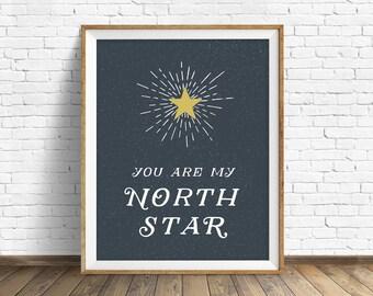 "art print, instant download printable art, printable quote, typography print, typography art print, large art, wall art - ""My North Star"""