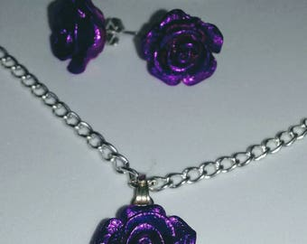 Dark mauve rose earrings and necklace set
