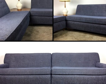 Recently Upholstered 2-Piece Mid-Century Sofa / Sectional - SOLD