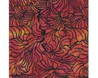 batik patchwork fabric ref kf03g4 red yellow leaves