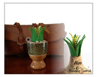 Peyote Stitch Aloe Leaf Table Top Foliage Plant Seed Bead Project Beaded Sculptures Beginner Pattern Beadweaving Instructions Tutorial  ALOE