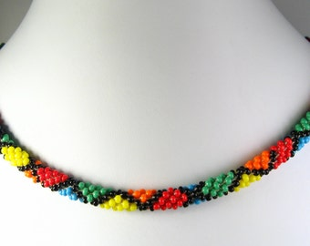 """Hand Crocheted Multicolor Diamond Glass Seed Bead Necklace 24"""""""