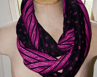 Jersey Cowl / Infinity Scarf  2 Scarfs Wear together or separate Pink Black and Gold 60 by 5 inches Gift for Her