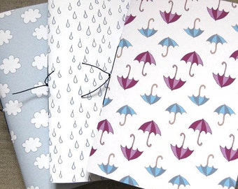 3 Handmade A6 Notebooks - April Showers