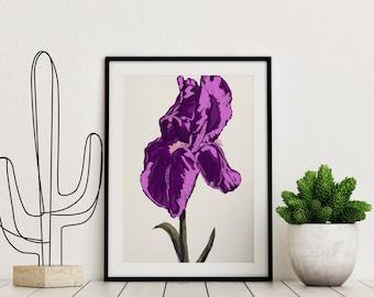 Comic Art Print, Purple Iris wall art, Floral print, comic art, planes print, modern pop art, minimalism