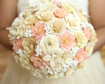 Wooden Flowers Bouquet- Ivory Blush Wooden Bouquet for Wedding and Home Decor Centerpiece, Mother's Day Gift, Prom Bouquet, Birthday Bouquet