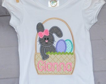 Personalized Easter Basket with Bunny and Eggs Applique Shirt or Bodysuit Girl or Boy