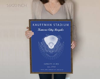 Kauffman stadium, Kansas City Royals, Kauffman stadium seating chart, Gift for Royals Fan, vintage royals, gift for him under 30. KC royals.