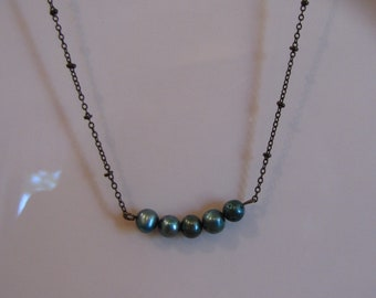 Bronze Beaded Chain Necklace with Five Turquoise Beads