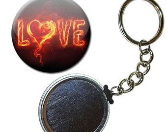 Badge 38 mm - Love love heart fire Fire Valentine Heart keychain