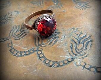 Garnet Red Lab Diamond in Copper Crown Setting Ring