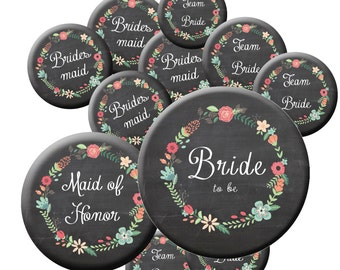 16 Chalkboard Team Bride Button Set - Team Bride Buttons - Bride Button - Maid of Honor - Bachelorette Party Buttons - Bridal Shower Buttons