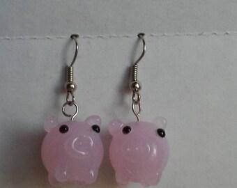 Glass Pig Earrings