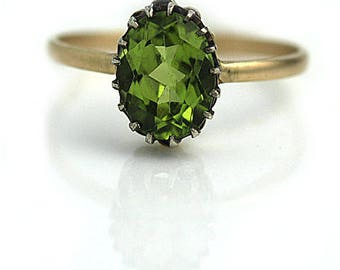 """Alternative Engagement Ring Vintage 1940's Oval Cut Peridot Engagement Wedding Anniversary Ring  """"The Lee"""""""