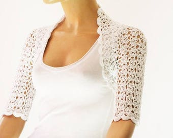 White crochet shrug, Wedding bolero shrug, Bolero jacket, Lace shrug, Bridal shoulders cover, Bridesmaids Cover up Bolero