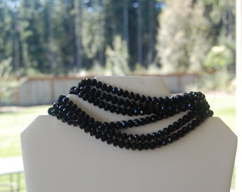 50 Black Faceted Crystal Rondelle beads 8x6mm