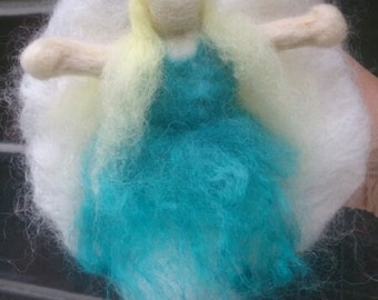 Turquoise hanging fairy in hand-dyed wool and alpaca. Blonde winged angel faery Steiner Waldorf inspired. Needle felted mobile, custom-made