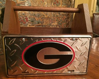 Handcrafted Georgia Bulldogs License Plate Solid Wood Tote Box Drink Carrier with Bulldog Opener