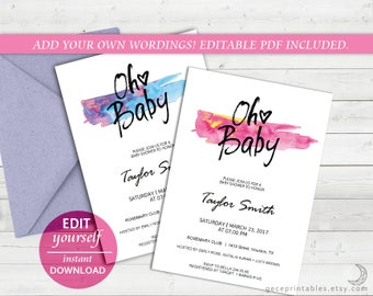Oh Baby Editable PDF Baby Shower: Invitation Template, DIY Edit Yourself Printable Baby Shower, Watercolor Invitation Baby Girl, Baby - 022