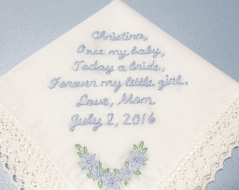 Mom to daughter, bridal gift , wedding handkerchief, hand embroidered,something blue,  today  a bride, wedding colors