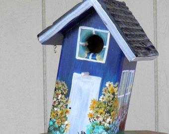 Unique Handmade Blue Birdhouse Hand Painted with Flowers and at a Slant